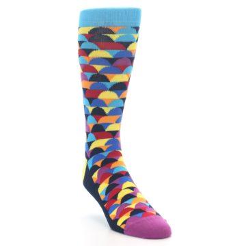 Image of Multi-Color Half-Circles Men's Dress Socks (side-1-front-02)