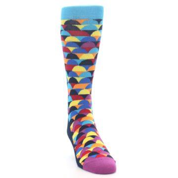 Image of Multi-Color Half-Circles Men's Dress Socks (side-1-front-03)