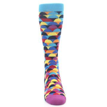 Image of Multi-Color Half-Circles Men's Dress Socks (front-04)