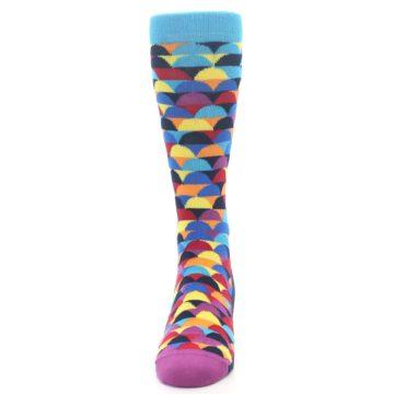 Image of Multi-Color Half-Circles Men's Dress Socks (front-05)