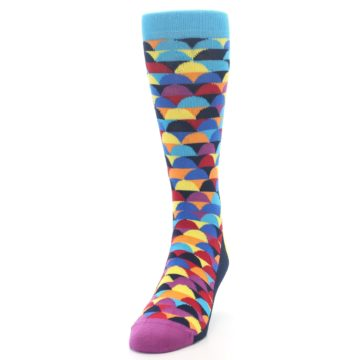 Image of Multi-Color Half-Circles Men's Dress Socks (side-2-front-06)