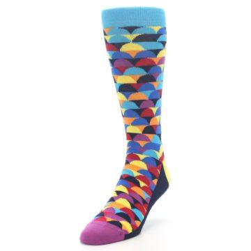 Image of Multi-Color Half-Circles Men's Dress Socks (side-2-front-07)