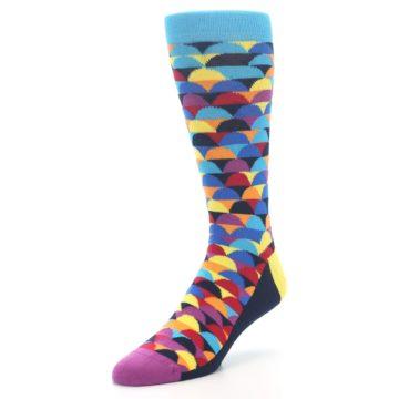 Image of Multi-Color Half-Circles Men's Dress Socks (side-2-front-08)