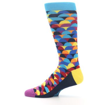 Image of Multi-Color Half-Circles Men's Dress Socks (side-2-12)