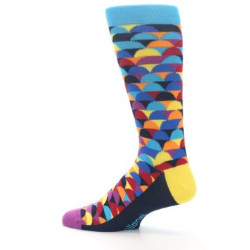 Image of Multi-Color Half-Circles Men's Dress Socks (side-2-13)