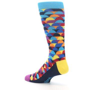Image of Multi-Color Half-Circles Men's Dress Socks (side-2-back-14)