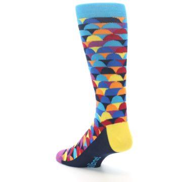 Image of Multi-Color Half-Circles Men's Dress Socks (side-2-back-15)
