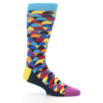 Image of Multi-Color Half-Circles Men's Dress Socks (side-1-25)