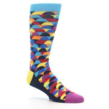 Image of Multi-Color Half-Circles Men's Dress Socks (side-1-26)