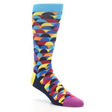 Image of Multi-Color Half-Circles Men's Dress Socks (side-1-27)
