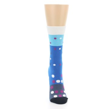 Image of Blue White Grey Polka Dot Women's Dress Socks (front-04)