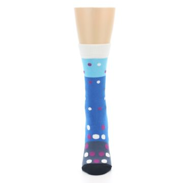 Image of Blue White Grey Polka Dot Women's Dress Socks (front-05)