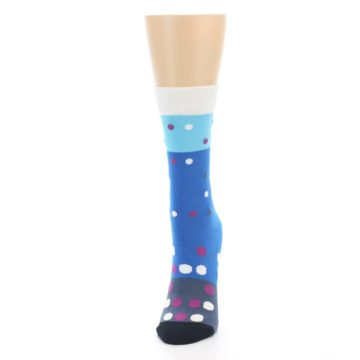 Image of Blue White Grey Polka Dot Women's Dress Socks (side-2-front-06)