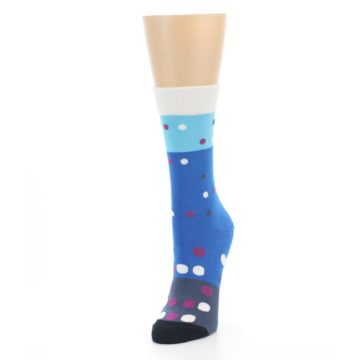 Image of Blue White Grey Polka Dot Women's Dress Socks (side-2-front-07)