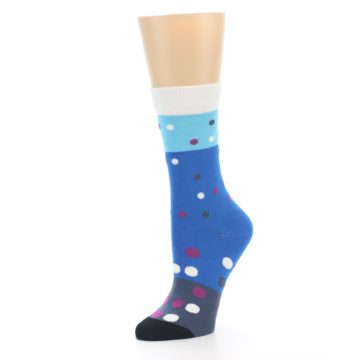 Image of Blue White Grey Polka Dot Women's Dress Socks (side-2-09)