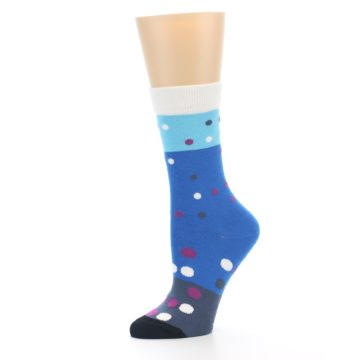 Image of Blue White Grey Polka Dot Women's Dress Socks (side-2-10)
