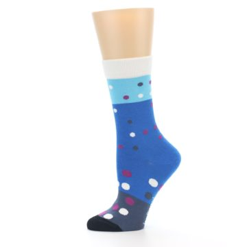 Image of Blue White Grey Polka Dot Women's Dress Socks (side-2-11)