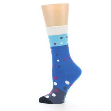 Image of Blue White Grey Polka Dot Women's Dress Socks (side-2-12)