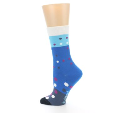 Image of Blue White Grey Polka Dot Women's Dress Socks (side-2-13)