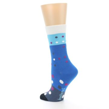Image of Blue White Grey Polka Dot Women's Dress Socks (side-2-back-14)