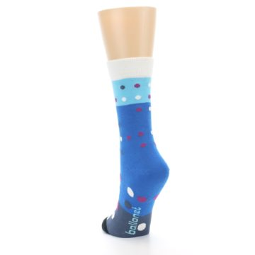 Image of Blue White Grey Polka Dot Women's Dress Socks (side-2-back-16)