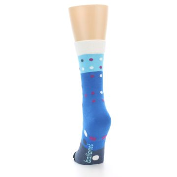 Image of Blue White Grey Polka Dot Women's Dress Socks (back-17)