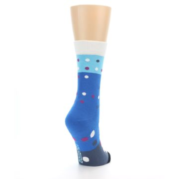 Image of Blue White Grey Polka Dot Women's Dress Socks (side-1-back-21)