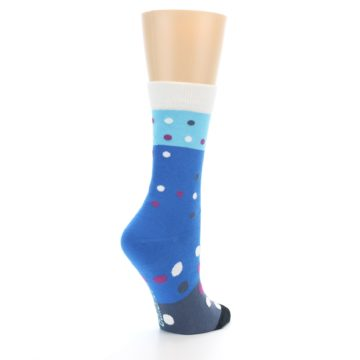 Image of Blue White Grey Polka Dot Women's Dress Socks (side-1-back-22)