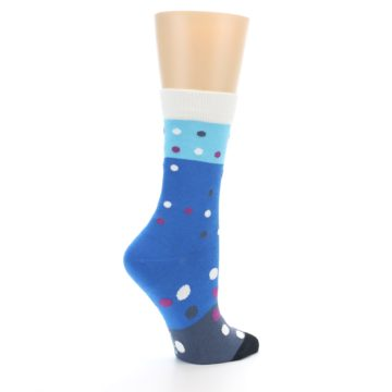 Image of Blue White Grey Polka Dot Women's Dress Socks (side-1-23)