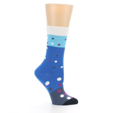 Image of Blue White Grey Polka Dot Women's Dress Socks (side-1-25)
