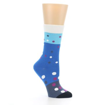 Image of Blue White Grey Polka Dot Women's Dress Socks (side-1-26)