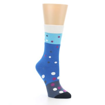 Image of Blue White Grey Polka Dot Women's Dress Socks (side-1-27)