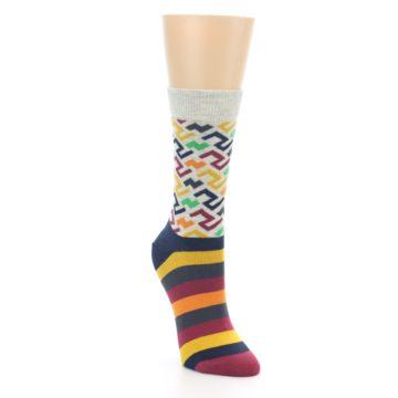 Image of Multi-Color Tread Pattern Women's Dress Socks (side-1-front-02)