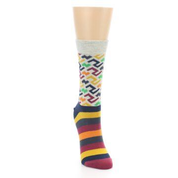 Image of Multi-Color Tread Pattern Women's Dress Socks (side-1-front-03)