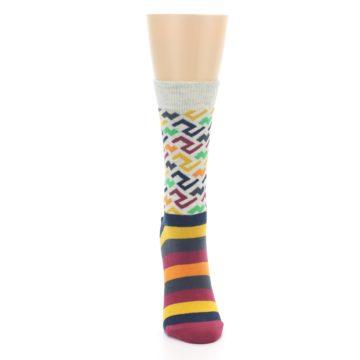 Image of Multi-Color Tread Pattern Women's Dress Socks (front-04)