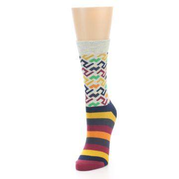 Image of Multi-Color Tread Pattern Women's Dress Socks (side-2-front-07)