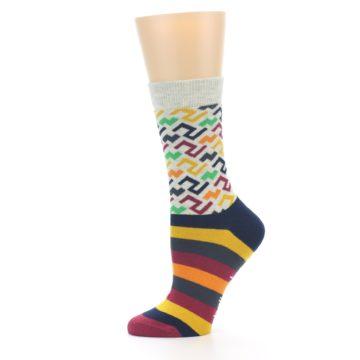 Image of Multi-Color Tread Pattern Women's Dress Socks (side-2-11)