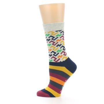 Image of Multi-Color Tread Pattern Women's Dress Socks (side-2-12)