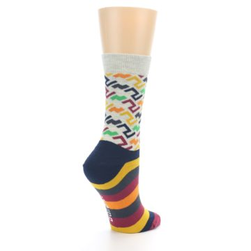 Image of Multi-Color Tread Pattern Women's Dress Socks (side-1-back-22)