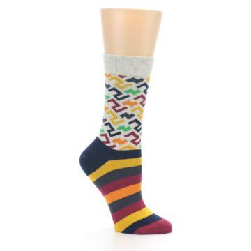 Image of Multi-Color Tread Pattern Women's Dress Socks (side-1-26)