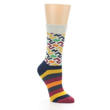 Image of Multi-Color Tread Pattern Women's Dress Socks (side-1-27)