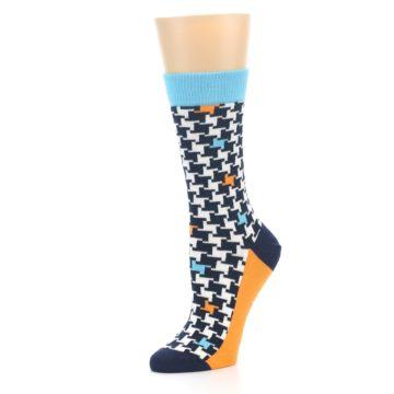 Image of Black White Blue Houndstooth Women's Dress Socks (side-2-09)