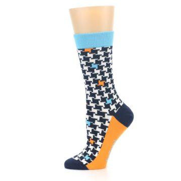 Image of Black White Blue Houndstooth Women's Dress Socks (side-2-11)