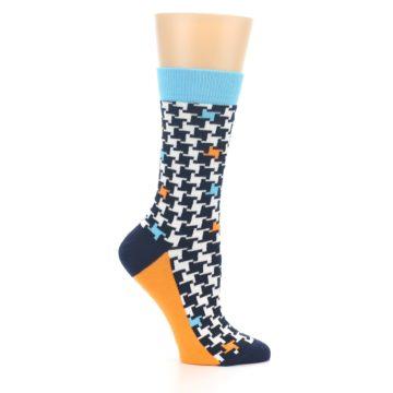 Image of Black White Blue Houndstooth Women's Dress Socks (side-1-25)