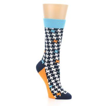 Image of Black White Blue Houndstooth Women's Dress Socks (side-1-27)