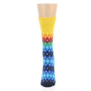 Image of Multi-Color Stripe Patern Women's Dress Socks (front-05)