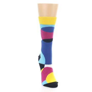 Image of Multi-Color Overlapping Circles Women's Dress Socks (side-1-front-03)