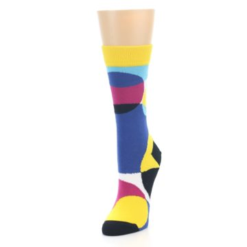 Image of Multi-Color Overlapping Circles Women's Dress Socks (side-2-front-07)