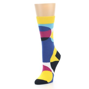 Image of Multi-Color Overlapping Circles Women's Dress Socks (side-2-front-08)