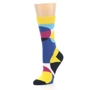 Image of Multi-Color Overlapping Circles Women's Dress Socks (side-2-09)